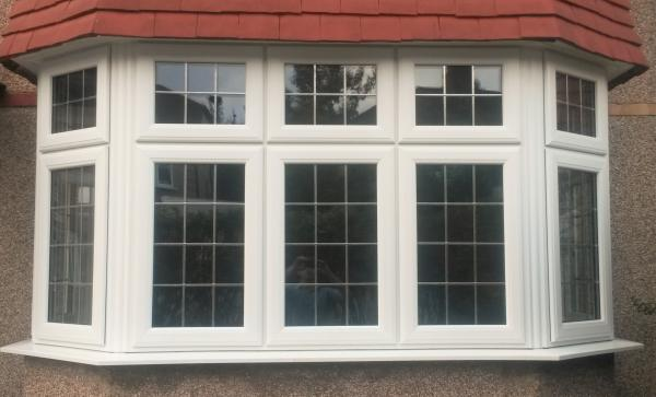 White UPVC bay with Equal sight lines and Square Leads